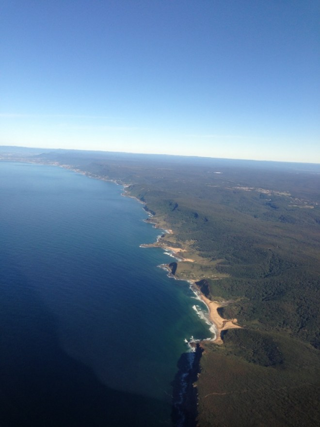 Flying into Sydney on a clear winters day
