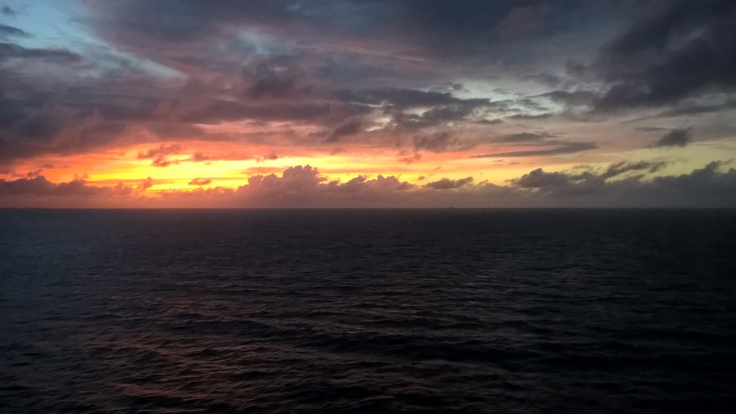 Sunset off the bow of the MS Maarsdan, Cruise 2015