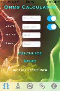 Vapor Plus review Ohm Calculator