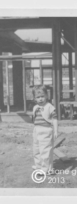 diane tischler (garver) in front of framing 1949