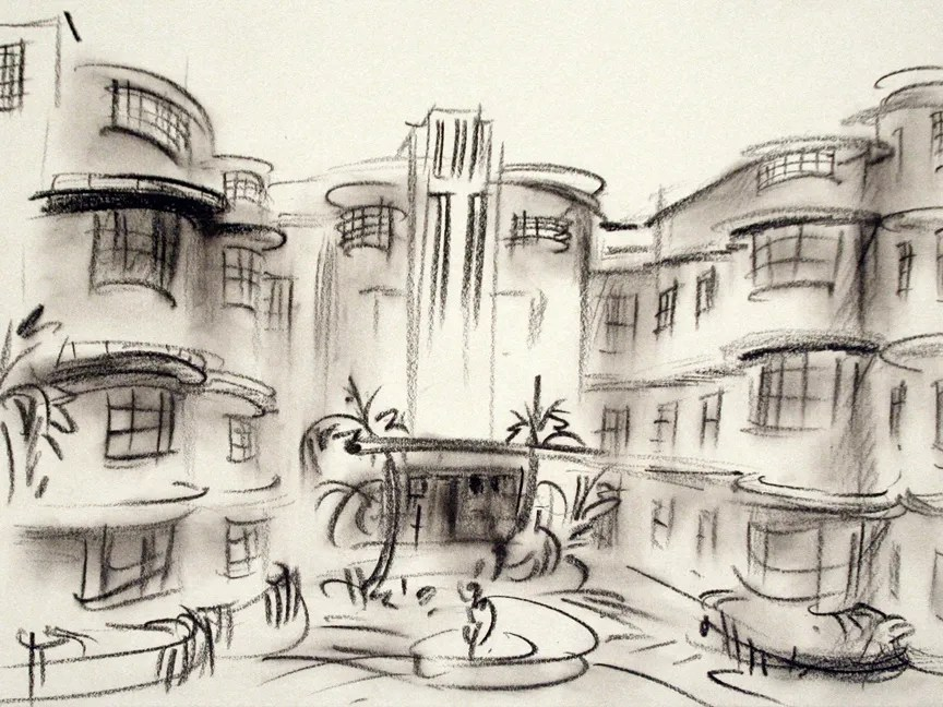 """1500 Collins Ave."" china marker on paper, approx 9""X11""  2012"