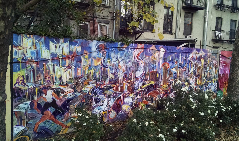 """Urban Jam,"" enamel and acrylic on plywood, 96""X 28' 2014"