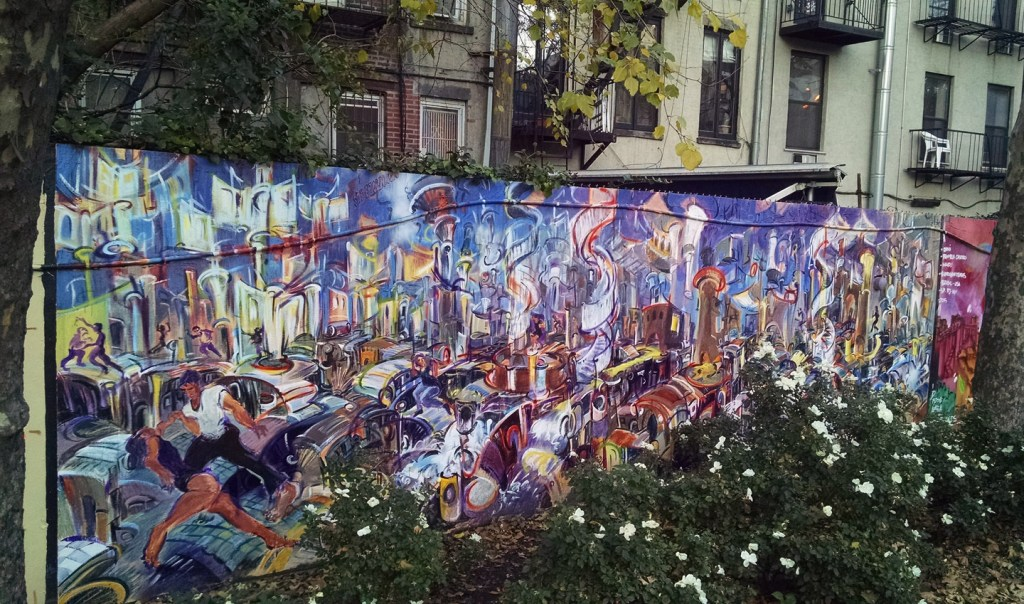 """Urban Jam,"" enamel and acrylic on plywood, 96""X 28' 2014"