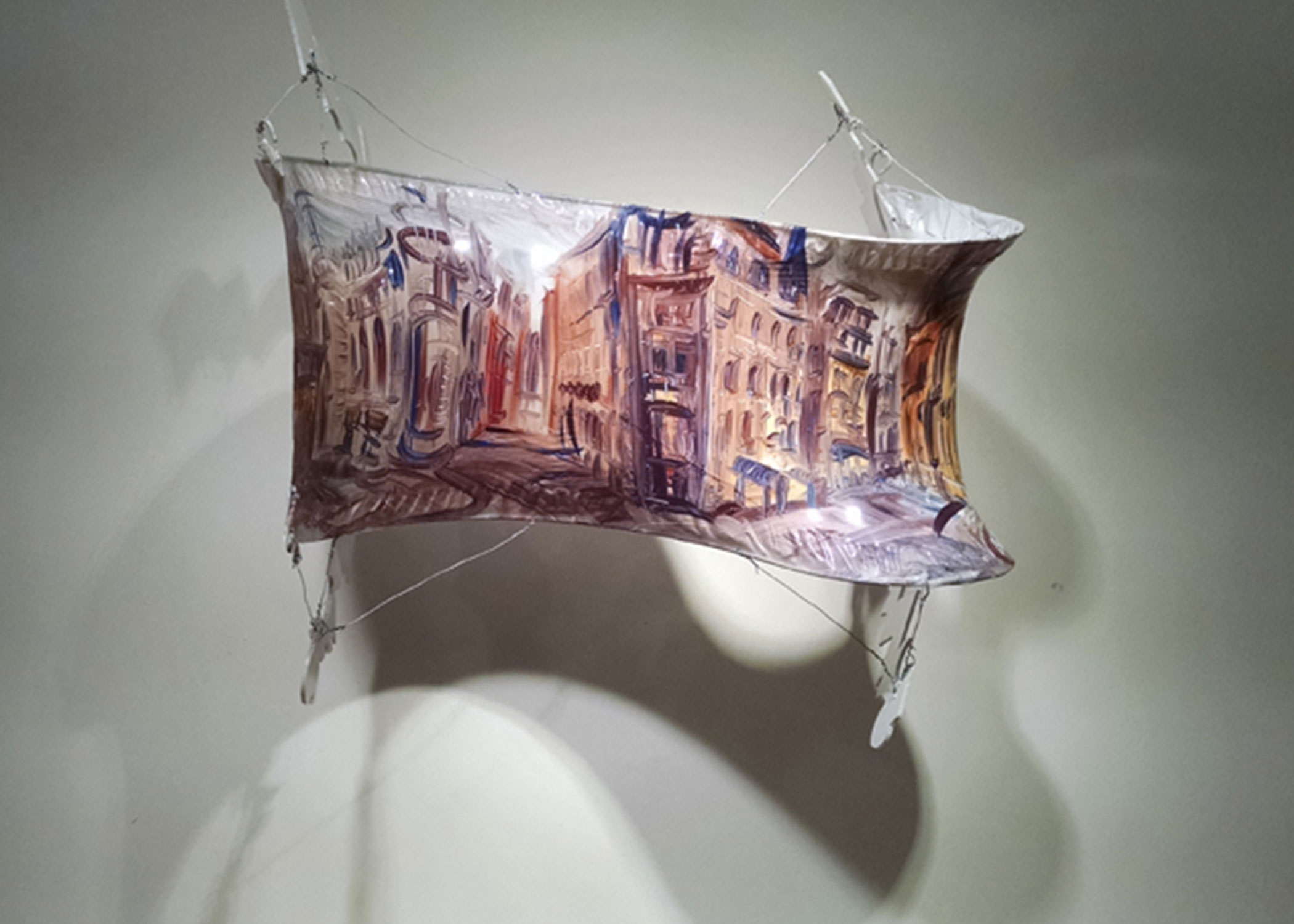 """Winding Cityscape,"" oil w/Liquin on shrink wrap w/wire, tape, Lexan, 2014"