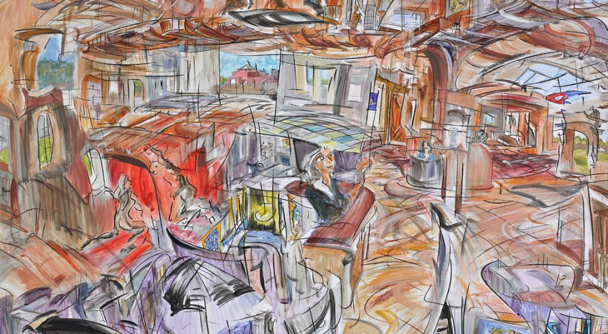 """Adobe Daymare,"" china marker, acrylic, oil pastel on glossy paper,  framed: 60""X 66"" 2011"