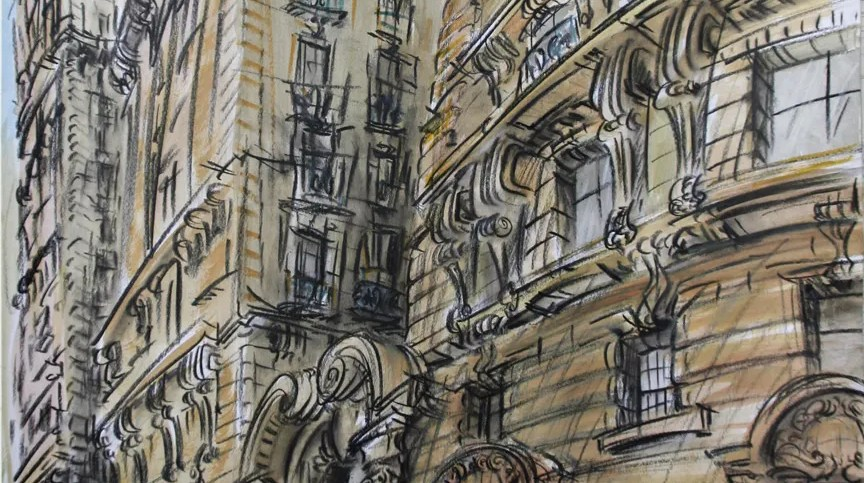 """Ansonia Afternoon,"" china marker w/mixed media on paper, 24""X 18"" 2011"