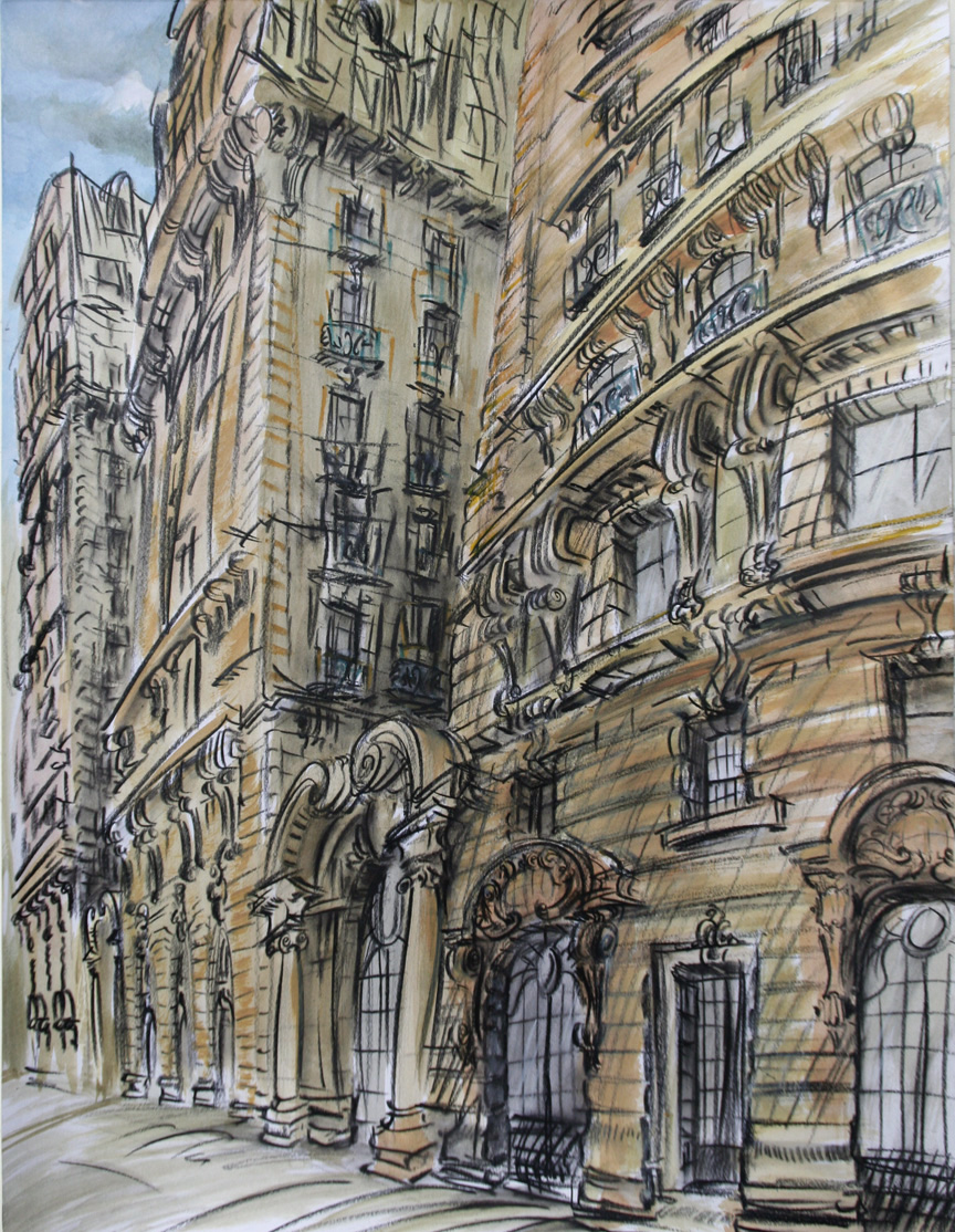"""""""Ansonia Afternoon,"""" china marker w/mixed media on paper, 24""""X 18"""" 2011"""