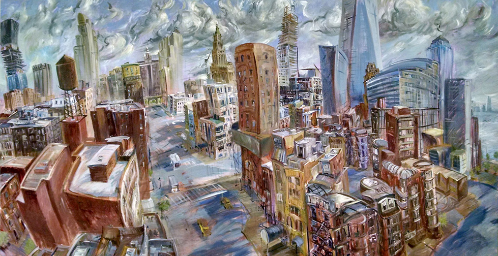 """""""Downtown,"""" oil on canvas, 96""""X 48"""" 2014"""
