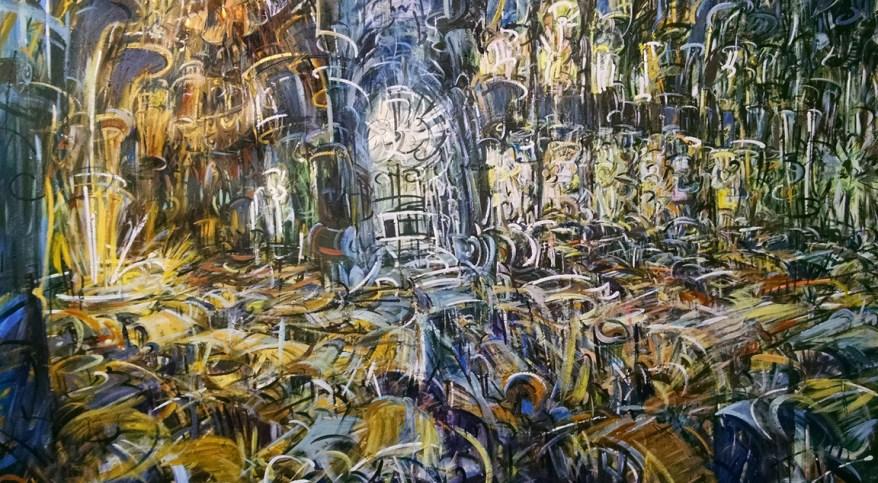 """Església Cinètica,"" acrylic on canvas w/Sharpie 68""X 104"" 2014"