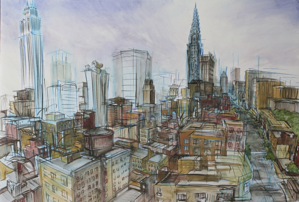 """From Kate's Apartment 1,"" china marker, oil on 1/2"" foamcore, 32""X48""  2008"