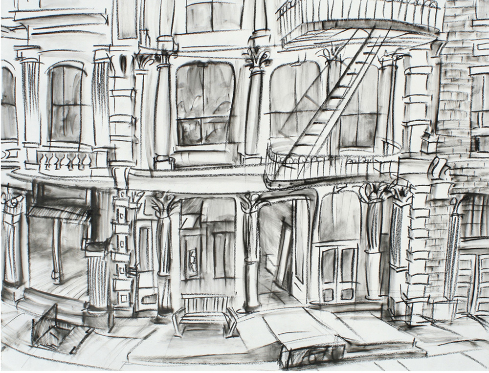"""Greene St 1,"" china marker on paper, 18""X24"" 2010"