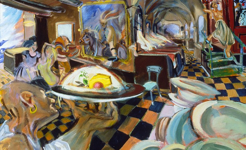 """Laundromat,"" china marker on paper, 18""X 24"" 2006"