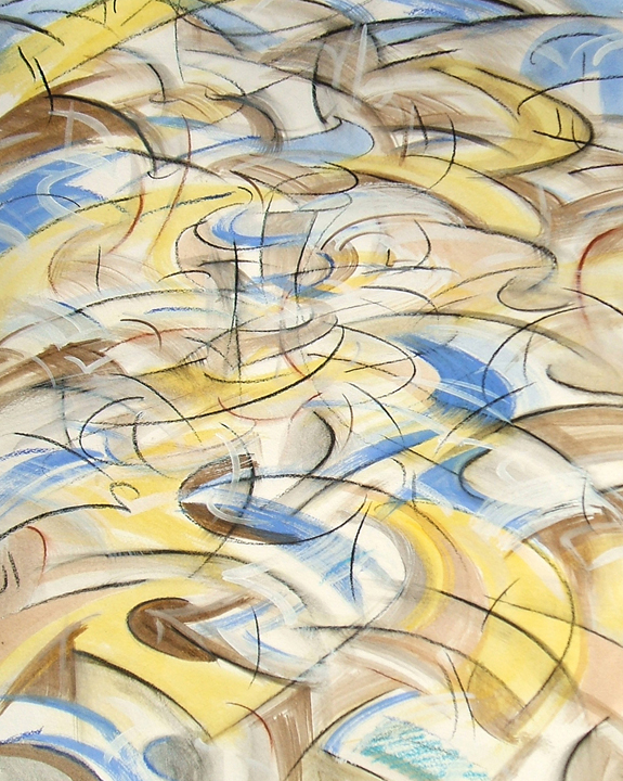"""""""Motionscape 4,"""" china marker, acrylic, oil pastel on paper, 24""""X18"""" 2006"""