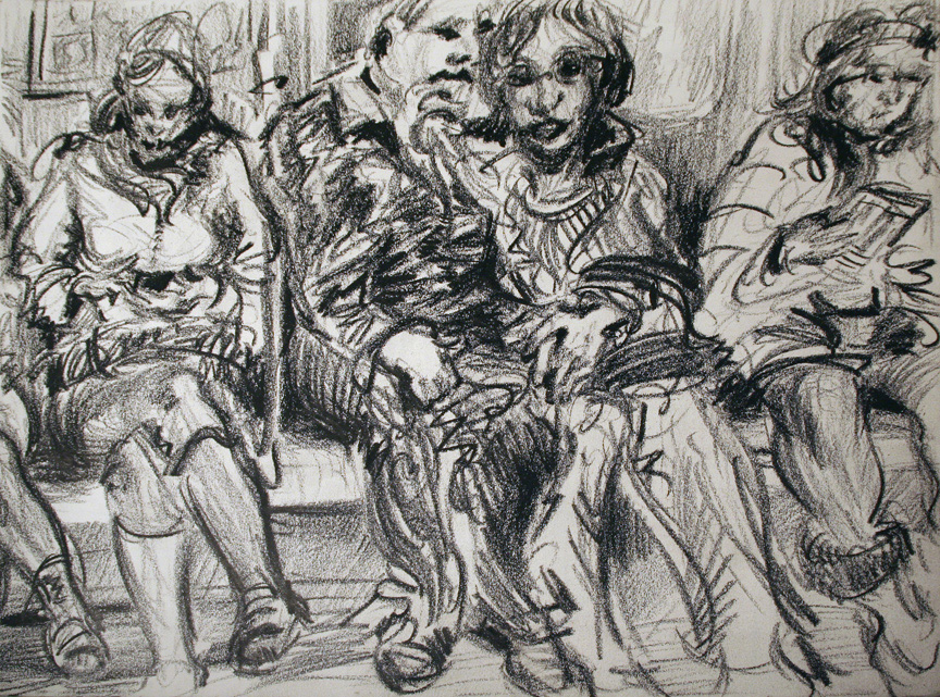 """On the Subway 2,"" china marker on paper, 11""X14""  2010"