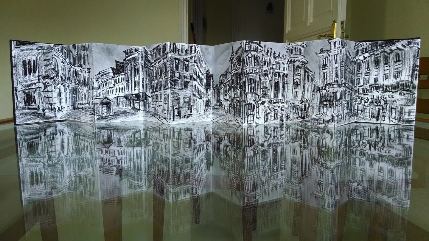 """""""Plaza Canalejas,"""" china marker in accordion sketchbook,6""""X 4""""X 25"""" 2014"""