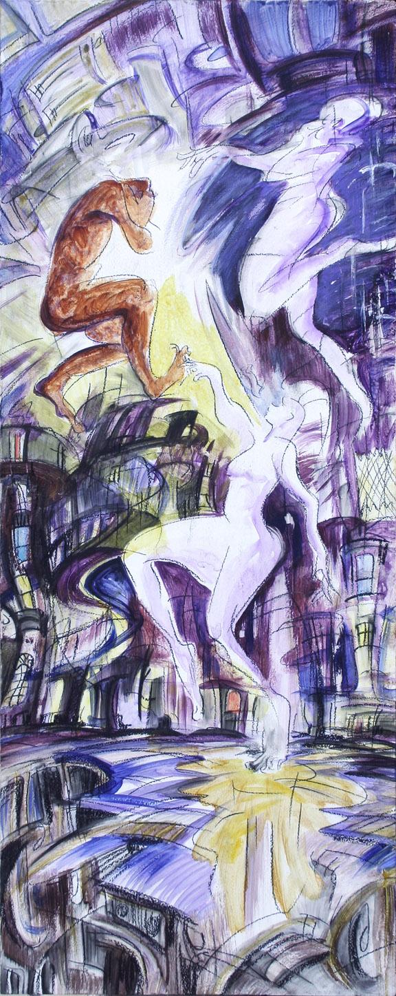 """""""Prometheus,"""" china marker and acrylic on wood pedestal panel, 30""""X 12"""" 2013"""