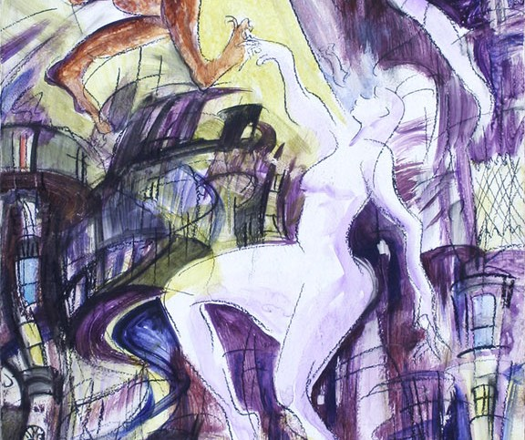 """Prometheus,"" china marker and acrylic on wood pedestal panel, 30""X 12""  2013"