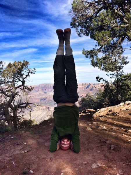 Photo of a yoga handstand at the Grand Canyon in arizona