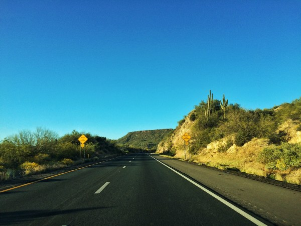 Photo of the drive on the highway headed north from Tucson to Flagstaff Arizona