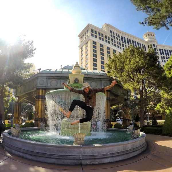 Photo of Stevie Vagabond jumping in front of the Bellagio Hotel in Las Vegas, Nevada