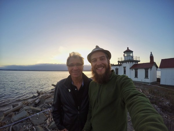 Selfie at a lighthouse during sunset