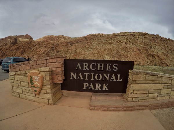 Photo of the sign at Arches National Park near moab, utah