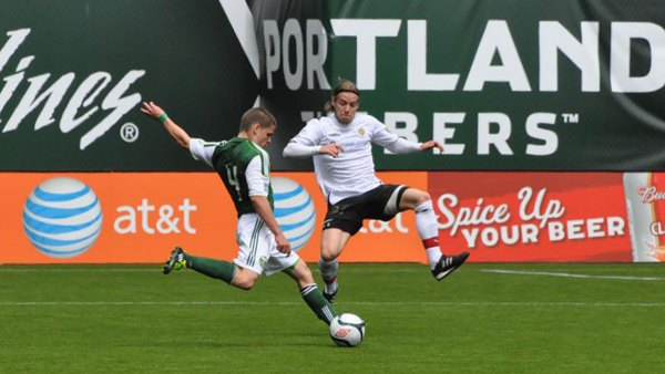 stephen ewashko of victoria highlanders fc blocking a shot at portland timbers