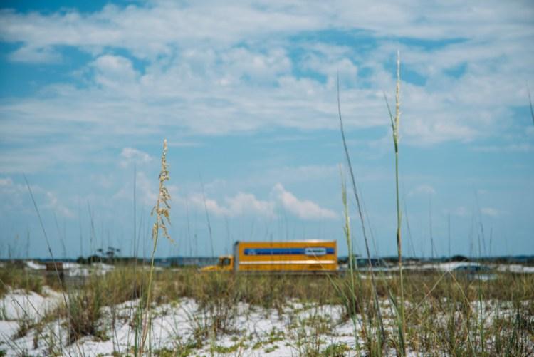 Penske truck parked at Pensacola Beach