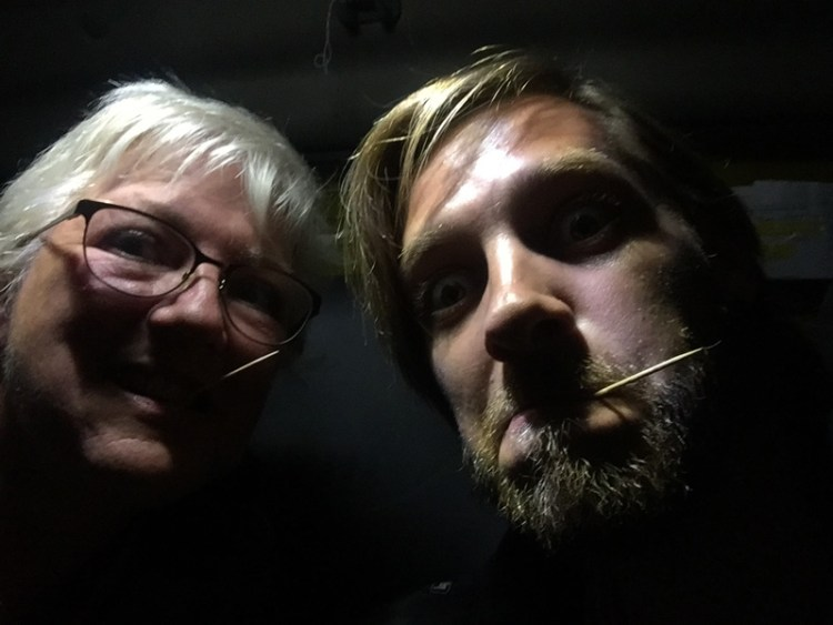 Selfie of Stevie Vagabond and mom with toothpicks
