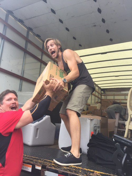 Stevie and Carl loading the truck.
