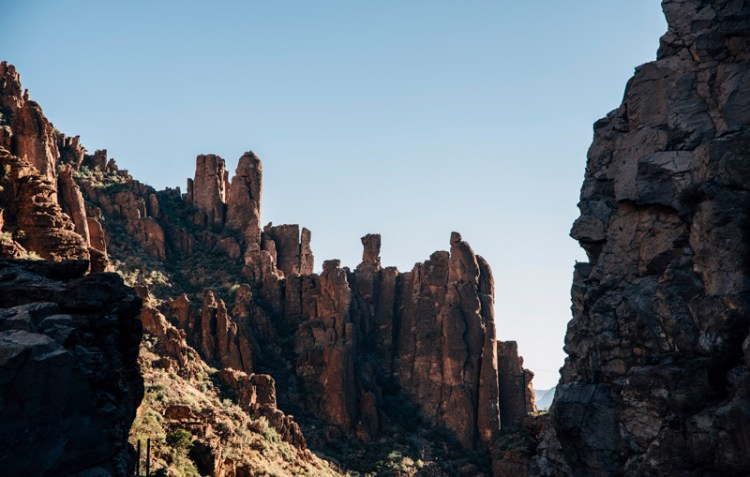 Photo of the tops of red rocks in Arizona.