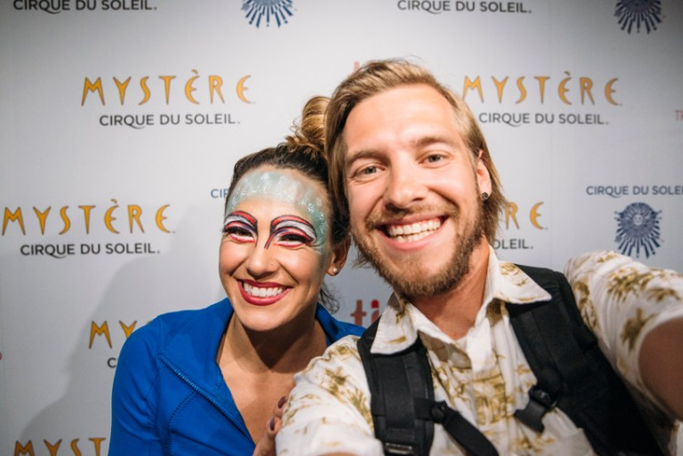 Stevie Vagabond with Corynne Barron after her performance with Cirque du Soleil Mystere in Las Vegas