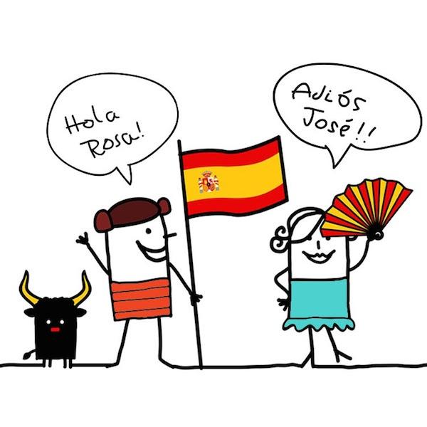 Cartoon characters speaking Spanish