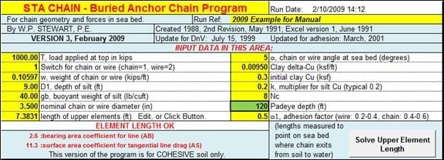 STA CHAIN, Buried anchor chain program input