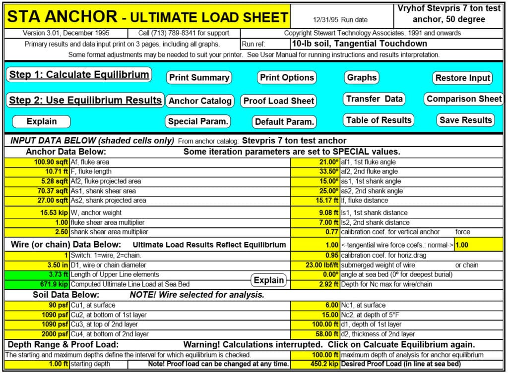 STA ANCHOR Ultimate Load Sheet with Anchor Data and Controls
