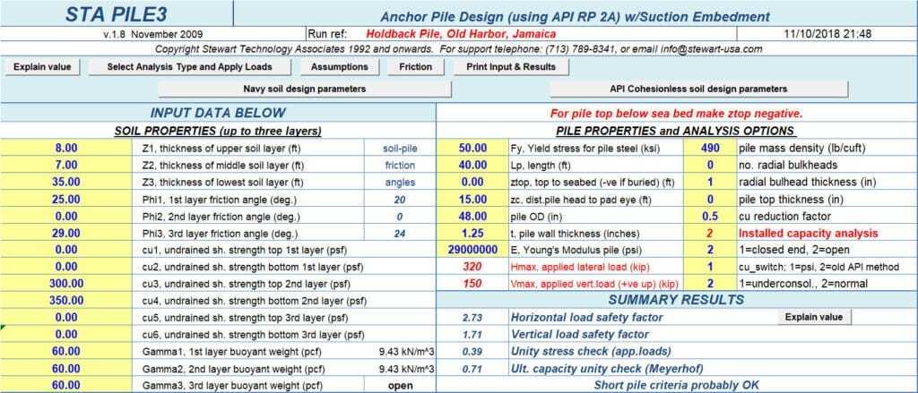 STA PILE3 Suction Pile Input Data