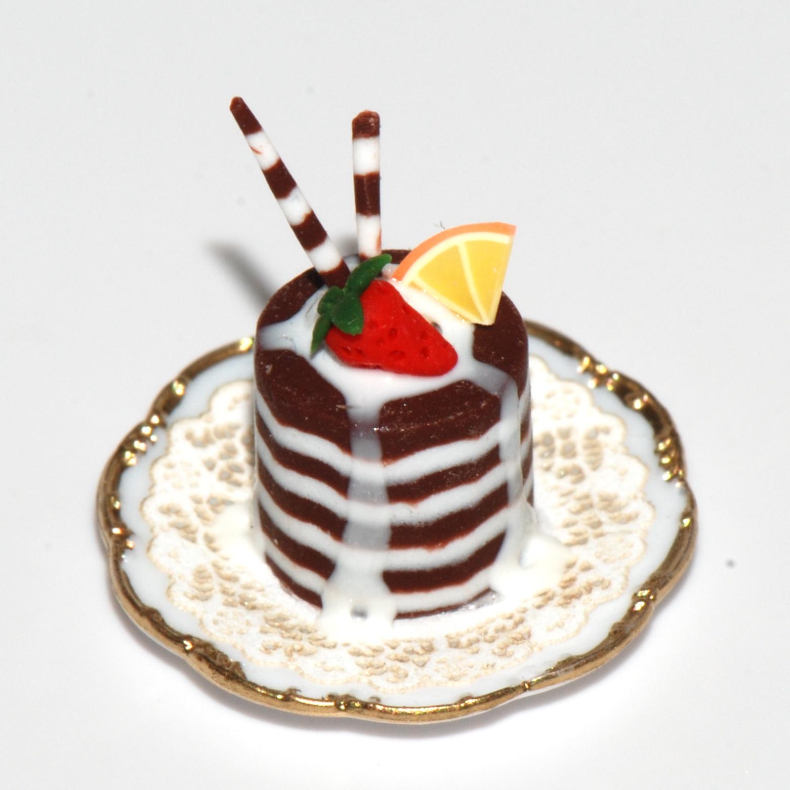 Decadent Chocolate Pastry W Strawberry Stewart Dollhouse
