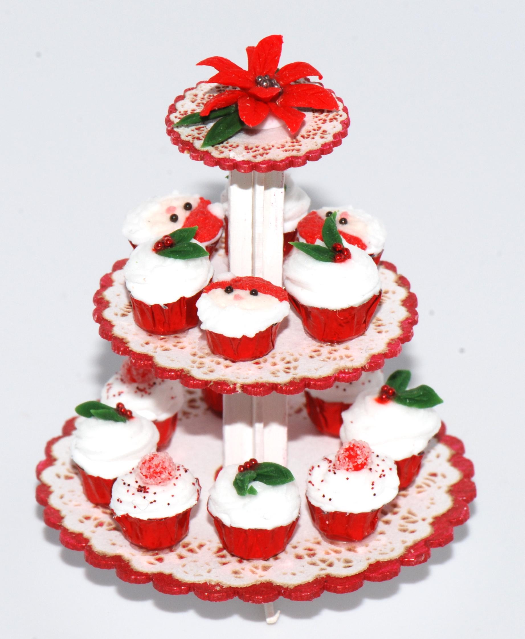 Christmas Cupcake Platter W Poinsettia Stewart