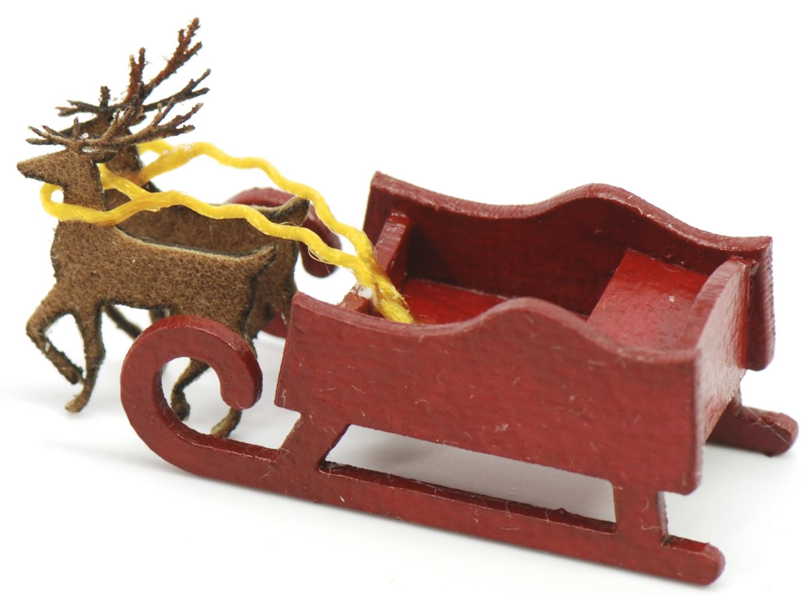 Large Sleigh With 2 Reindeer Stewart Dollhouse Creations