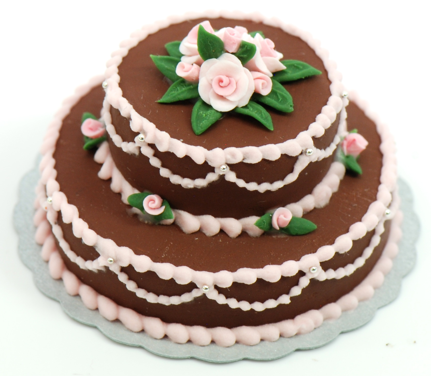 Minature Double Layer Chocolate Cake Wpink Roses