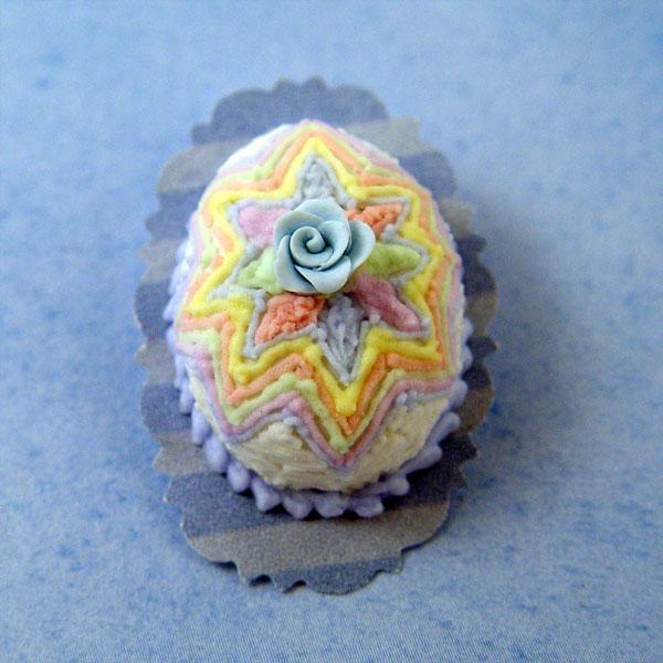 Egg Shaped Easter Cake WMulti Colored Star Stewart