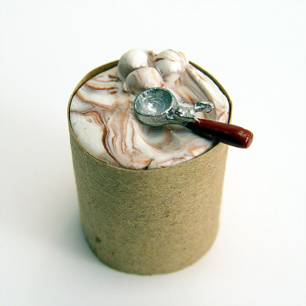 112 Scale Minature Bucket Of Chocolate Swirl Ice Cream