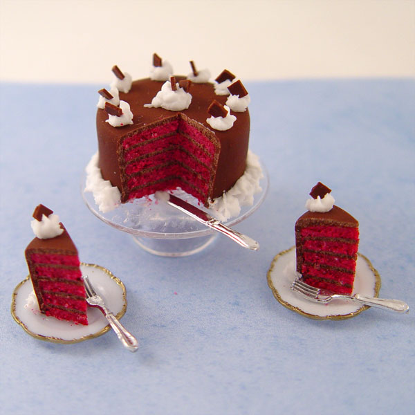 5 Layer Red Velvet Cake On Glass Cake Stand Stewart