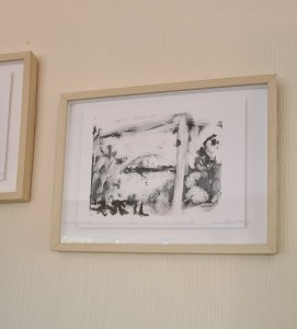 'View of St Helens from Mount Tabor I' framed in the Artist's Living Room. this can be purchased unframed!