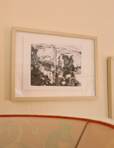 'View of St Helens from Mount Tabor II' framed in the Artist's Living Room. this can be purchased unframed!