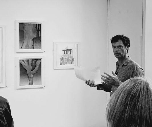 Stewart giving his Artist's Talk at the Bridport Arts Centre, 4th September 2021