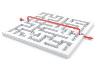 illustration of successful completed maze. 3d render