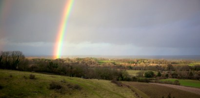 View from the Downs with a rainbow