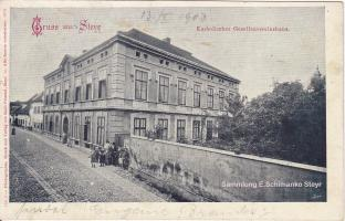 """Correspondenz-Karte gestempelt 1903 """"Gesellenhaus"""" Steyr"""
