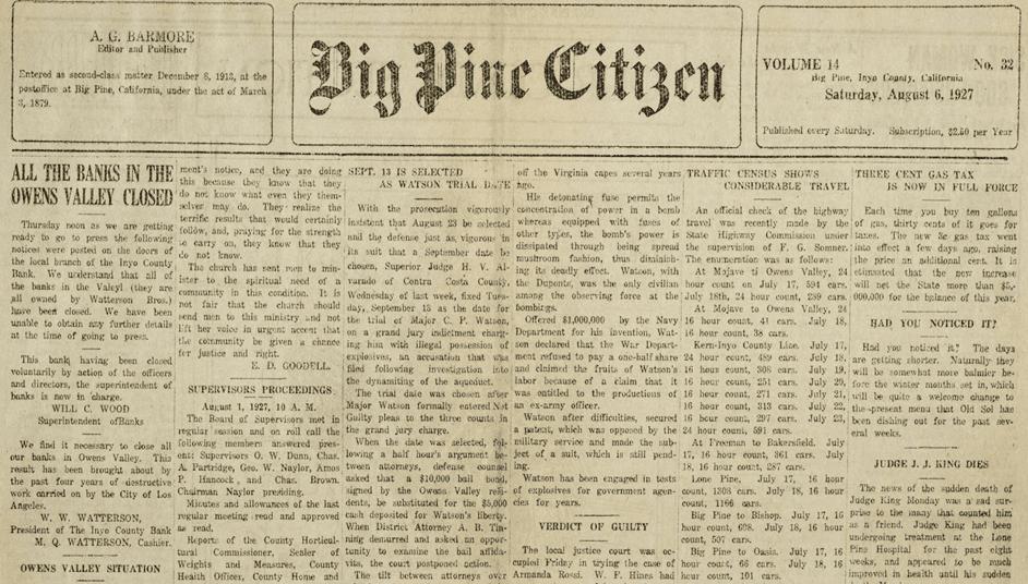 Big Pine Citizen newspaper, Big Pine, Inyo County, California, August 6, 1927.